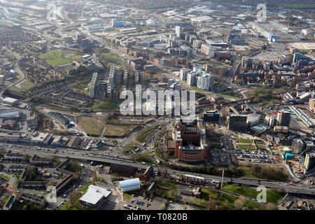 aerial view from over the A64, looking south down the A61 road, Marsh Lane in east Leeds, West Yorkshire, UK - Stock Photo
