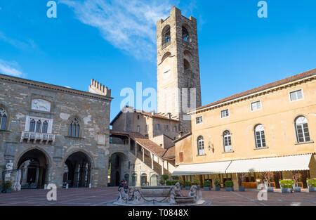 Italy, Bergamo, The Della Ragione and Del Podestà palaces with the Civic tower in the background. - Stock Photo
