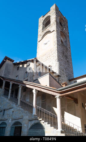 Italy, Bergamo, the Civic tower also known as the 'Del Campanone' tower - Stock Photo
