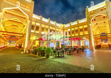 Doha, Qatar - February 18, 2019: historic building of Falcon Souq, a market selling live falcon birds and falconry equipment located in the center of - Stock Photo