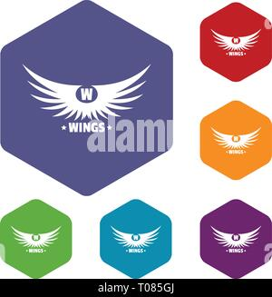 Modern wing icons vector hexahedron - Stock Photo