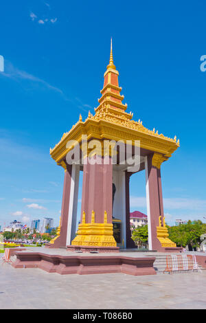 Statue of King Father Norodom Sihanouk, Neak Banh Teuk Park, Phnom Penh, Cambodia, Asia - Stock Photo