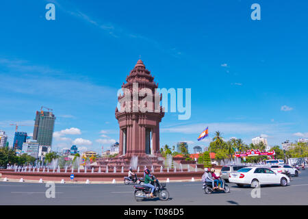 Independence Monument, Neak Banh Teuk Park, Phnom Penh, Cambodia, Asia - Stock Photo
