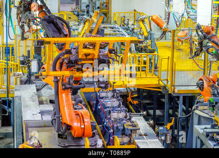 Modern car production line, is working in the robot - Stock Photo