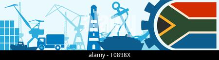 Cargo port relative icons set. South Africa flag in gear. - Stock Photo