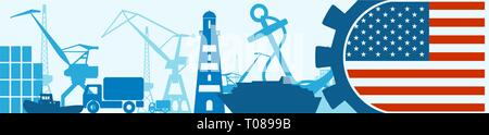 Cargo port relative icons set. USA flag in gear. - Stock Photo