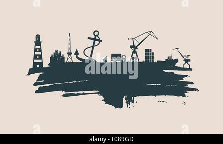 Cargo port relative icons set. - Stock Photo