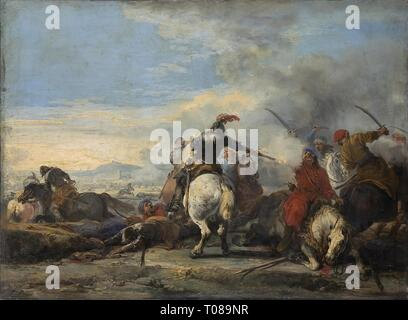 'Cavalry Encounter'. France, Second half of the 17th century. Museum: State Hermitage, St. Petersburg. Author: Courtois, Jacques (called Bourguignon). 1621. - Stock Photo