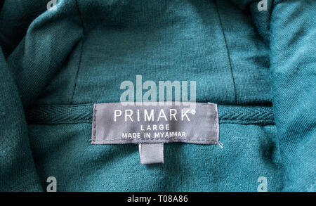 Primark garment label. Made in Myanmar - Stock Photo