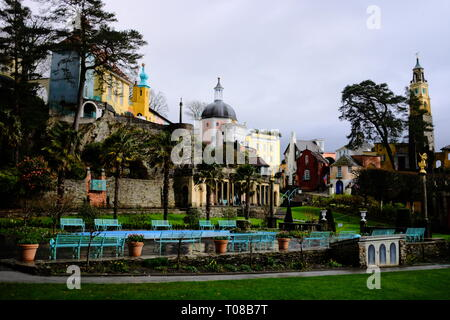 the Italian style central piazza of Portmeirion village - Stock Photo