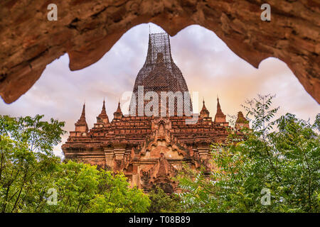 Old temple in the plain of Bagan (Pagan), Mandalay, Myanmar - Stock Photo