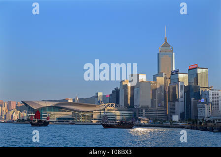 Junk boat in Hong Kong Victoria Harbour Stock Photo