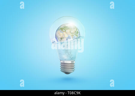 3d rendering of transparent light bulb with earth globe inside on blue background - Stock Photo