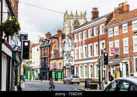 Beverley town centre, center, shops, shoppers, stores outside main street shopping area Beverley Yorkshire UK England - Stock Photo
