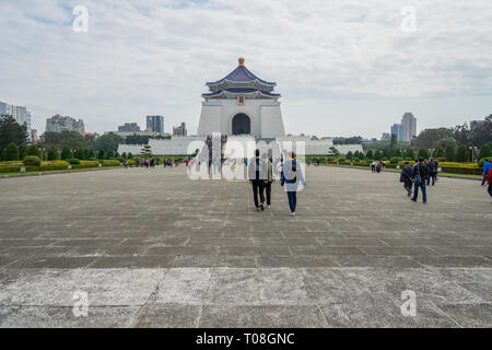 Taipei, Taiwan - March 2019: The National Chiang Kai-shek Memorial Hall architectures and visitors. Chiang Kai-shek Memorial Hall is popular landmark - Stock Photo