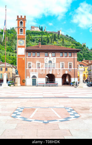Italy, Marostica, The square where the traditional chess game is played, with the Doglione palace in the background