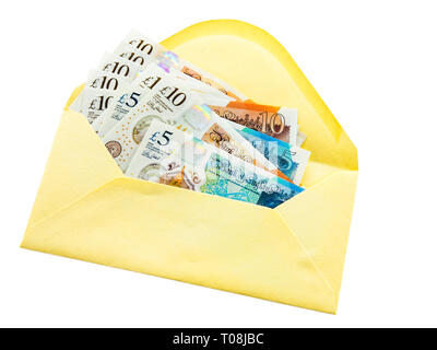 New British five and ten pound notes plastic polymer banknotes money sterling £ in an envelope isolated on a white background. England UK Britain - Stock Photo