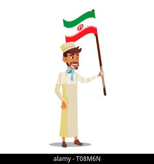 Arab Boy Holds Flag Of Iran Vector Flat Cartoon Illustration - Stock Photo