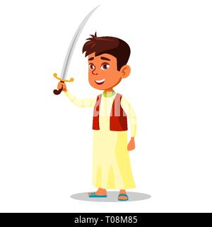 Arab Little Boy In National Clothes Holding Saber In Hand Vector Flat Cartoon Illustration - Stock Photo