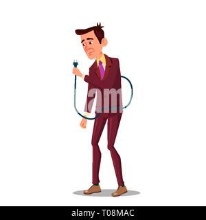 Sad Tired Businessman Holding Power Cord In Hand Vector Flat Cartoon Illustration - Stock Photo