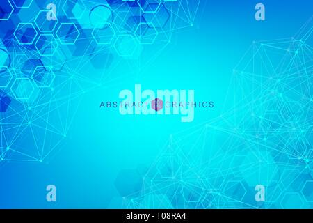 Big Data Visualization Background. Modern futuristic virtual abstract background. Science network pattern, connecting lines and dots. Global network - Stock Photo