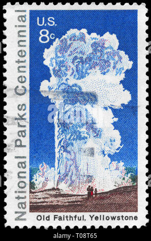 USA - CIRCA 1972: A Stamp printed in USA shows Old Faithful, Yellowstone, National Parks Centennial Issue, circa 1972 - Stock Photo