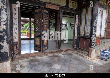 Interior of the Zhu Family house, Jianshui Ancient Town, Yunnan Province, China - Stock Photo