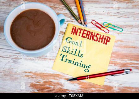INTERNSHIP concept. Text on a napkin - Stock Photo