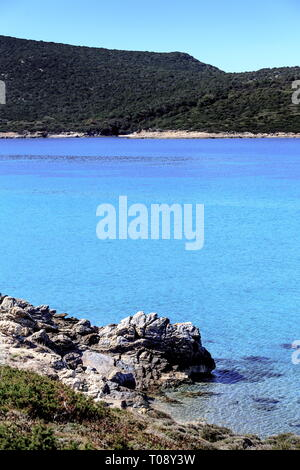 Chryssi Ammos ('Golden Sand') beach, close to Marmari town, Evia island, Central Greece. - Stock Photo