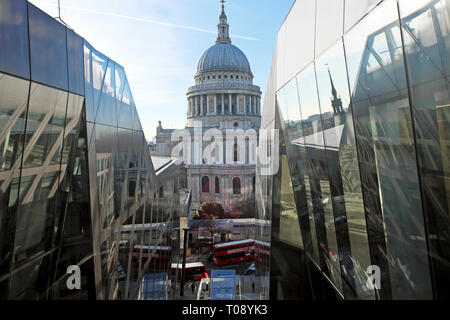 A view of St Pauls Cathedral dome from the elevator of One New Change and a view of the street and traffic below in London UK  KATHY DEWITT - Stock Photo