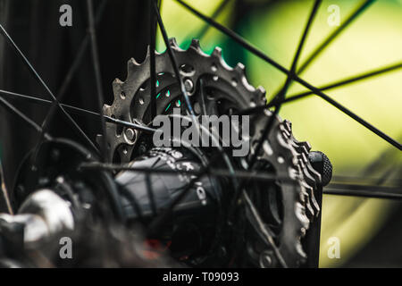 The rear cassette of a bike on stage 6 (Sidmouth to Haytor) of the 2016 Tour of Britain in Sidmouth, East Devon, South West England, UK. - Stock Photo