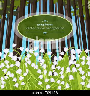 Lily of the valley spring tender flowers in a forest glade, vector illustration. White buds bluebells and green stalks leaves against a background of  - Stock Photo