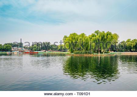 Shichahai Qianhai lake in Beijing, China - Stock Photo