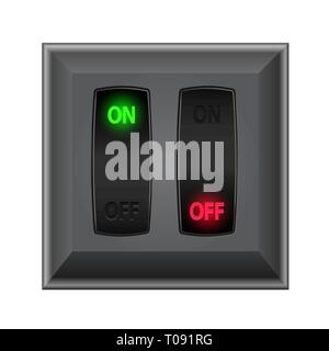 switches in on and off - Stock Photo