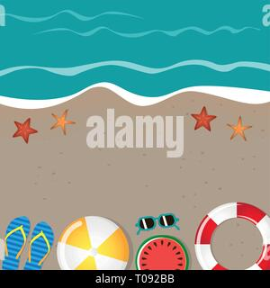 different beach utensils summer holiday background with flip flops sunglasses starfish and watermelon vector illustration EPS10 - Stock Photo
