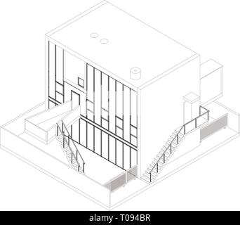 Wireframe perspective of a modern house. Rendering of a building by Kazuyo Sejima in Chiba, Japan. - Stock Photo