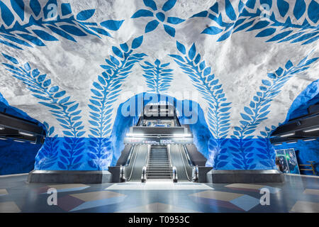 NOVEMBER 11, 2017 - STOCKHOLM, SWEDEN: Wide-angle view of empty modern metro station in famous Stockholm Tunnelbana subway system, Sweden, Scandinavia - Stock Photo