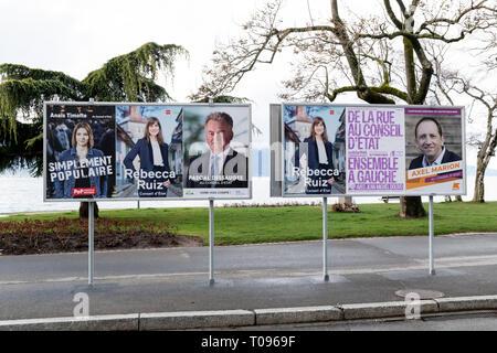 Election Conseil d'Etat Canton Vaud 2019 siège du socialiste Pierre-Yves Maillard - Rebecca Ruiz, Pascal Dessauges, Jean-Michel Dolivo, Anaïs Timofte - Stock Photo