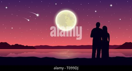 romantic night couple in love at the lake with full moon and falling stars vector illustration EPS10 - Stock Photo
