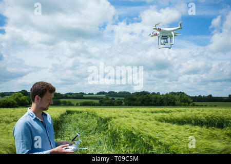 Great Britain, England, Wiltshire.  Man operating a drone in a crop circle. - Stock Photo
