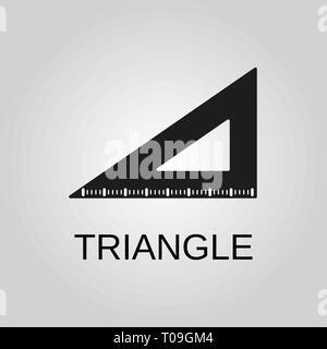 Triangle Ruler icon. Triangle Ruler symbol. Flat design. Stock - Vector illustration. - Stock Photo