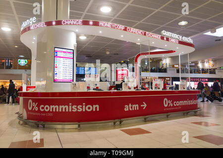 Bureau de Change office operated by Moneycorp; North Terminal, Gatwick airport. London. UK. (104) - Stock Photo