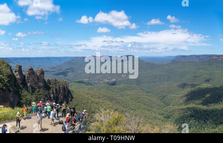 View over the Blue Mountains from The Three Sisters Lookout at Echo Point, Katoomba, New South Wales, Australia - Stock Photo