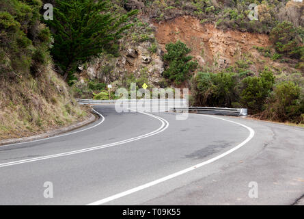 View of the Great Ocean Road,  as it passes over Smythes Creek, Victoria, Australia - Stock Photo
