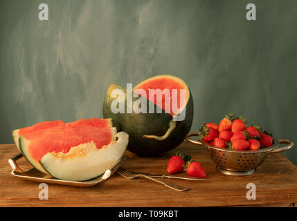 still life with watermelon, strawberry and melon - Stock Photo