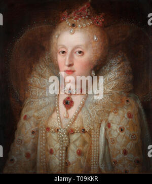 Elizabeth I, aka The Virgin Queen, Gloriana or Good Queen Bess, 1533 – 1603. Queen of England and Ireland.  After an anonymous contemporary portrait in the Rijksmuseum, Amsterdam, Netherlands. - Stock Photo