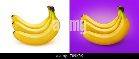 Banana. Bunch of bananas isolated on white background - Stock Photo