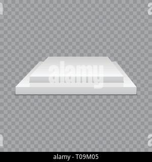 White podium. Square 3d empty podium with steps. Vector mockup - Stock Photo