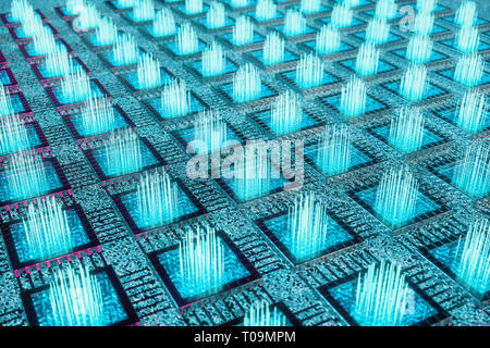 AI - artificial intelligence concept. Machine learning. Central Computer Processors on the circuit board with luminous tracks. Encoded data. Computer  - Stock Photo