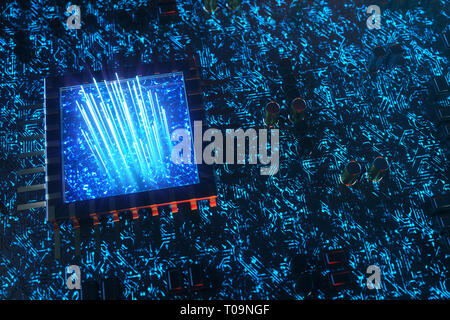AI - artificial intelligence concept CPU. Machine learning. Central Computer Processors on the circuit board with luminous tracks. Encoded data - Stock Photo